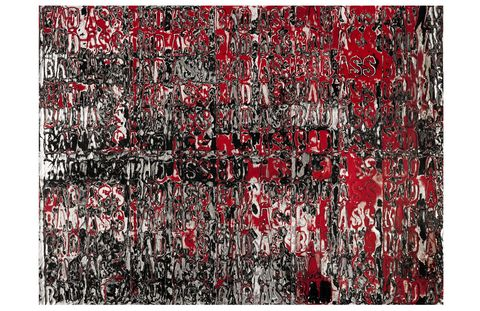 """Mark Bradford is one of a score of grateful American artists who are donating recent work to be auctioned in this sale on behalf of the Whitney Museum of American Art's new building project. His contribution, Is That What He Told You, seems to be made of a heady mix of mirrors, blood, and money. The artist professes an underlying ambivalence about the mantra repeated throughout: """"Bad Ass."""" Nevertheless, the painting exudes a Cagney-esque cocksureness perfectly calibrated to the mindset of the auction-goer.Sotheby's Contemporary Art, afternoon sale, 2 pm, May 15.Lot 417, Is That What He Told You, Mark Bradford; $350,000-$450,000.(Sold for three times its low estimate and more than double its high estimate, going for $1,085,000.)"""