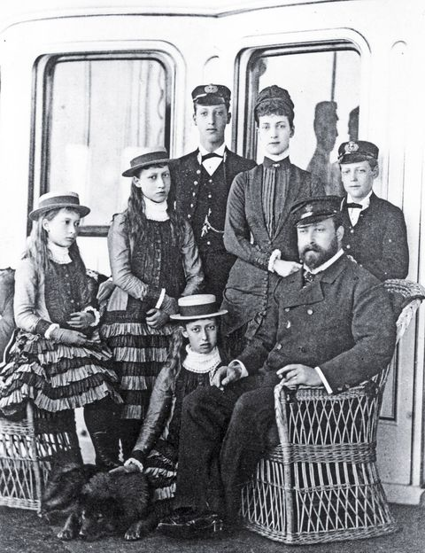 With Queen Alexandra and his children aboard the royal yacht, 1880. He would become king in 1901.
