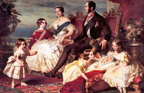 Queen Victoria commissioned Franz Winterhalter to paint the royal family in 1846. Prince Edward, age five, wears a Russian blouse.