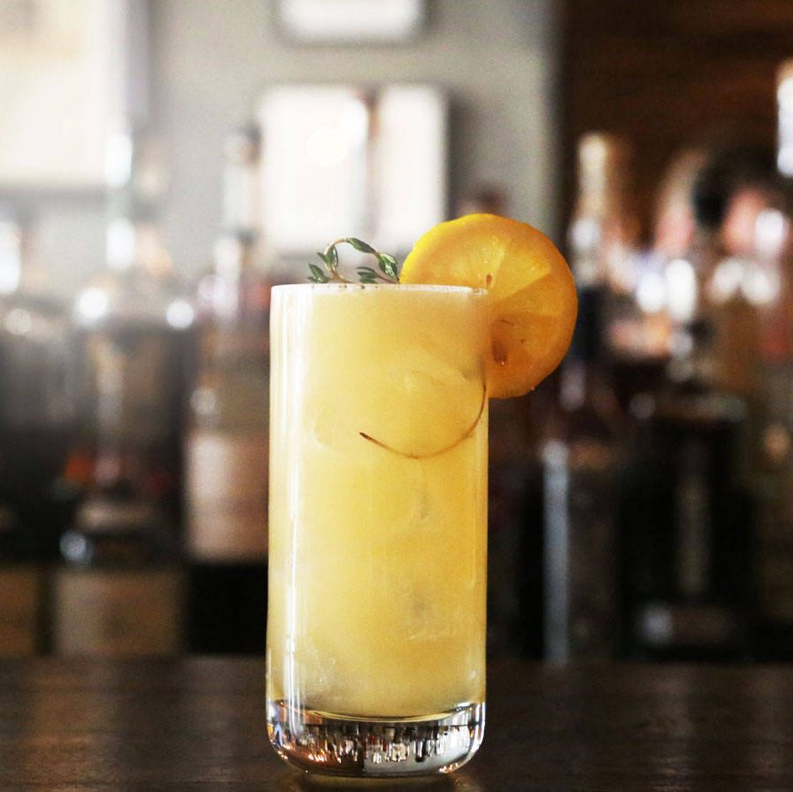 """2 oz. Bombay Sapphire Gin1 oz. Lemonade (6 oz lemon juice, 9 oz simple syrup, 12 oz water)1 oz. Honey and Thyme Gastrique (2 cups honey, 2 cups distilled white vinegar, 1 large handful of fresh thyme)Combine ingredients with ice in a shaker tin, shake, and strain over fresh ice in highball glass & garnish with fresh thyme & lemon wheel.Bring vinegar to boil with thyme while vinegar is coming to the boil, bring honey to simmer in a separate 4 qt. saucier over medium heatCombine vinegar with honey but be careful as the mixture will boil over if it is not added slowly. Bring honey, vinegar & thyme mixture to boil and reduce to simmer.Let mixture simmer for 12-15 minutes.Strain mixture through chinois and let cool until you are ready to use.Notes from judges: """"Fishy, sweet.""""—Pogash&#x3B; """"I love the lemonade idea but the proportion is off and the gin gets lost.""""—Chang&#x3B; """"Creative but way too sweet.""""—Robitschek"""