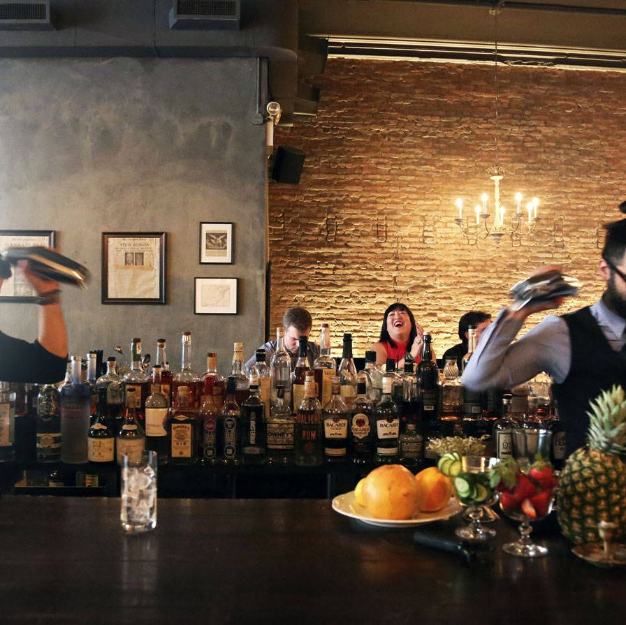 """<p>Trevor Schneider, head bartender at <a href=""""http://www.hardingsnyc.com/"""">Harding's</a> mixes one of the submitted recipes for judges Leo Robitschek, Belinda Chang, and Jonathan Pogash. </p><div> </div>"""