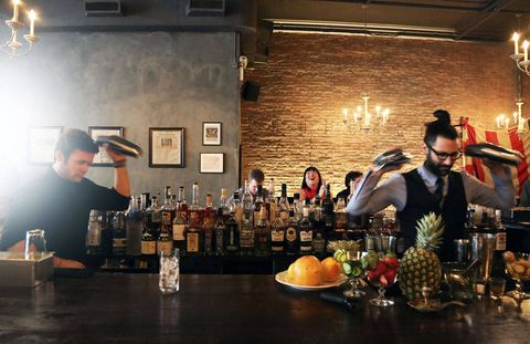"<p>Trevor Schneider, head bartender at <a href=""http://www.hardingsnyc.com/"">Harding's</a> mixes one of the submitted recipes for judges Leo Robitschek, Belinda Chang, and Jonathan Pogash. </p> <div> </div>"