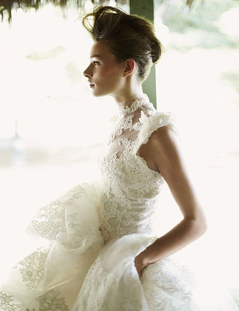 Marchesa lace gown.