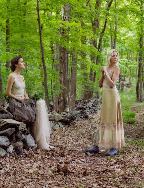 Tree, Forest, People in nature, Woodland, Dress, Old-growth forest, Trunk, Grove, Spring, Gown,