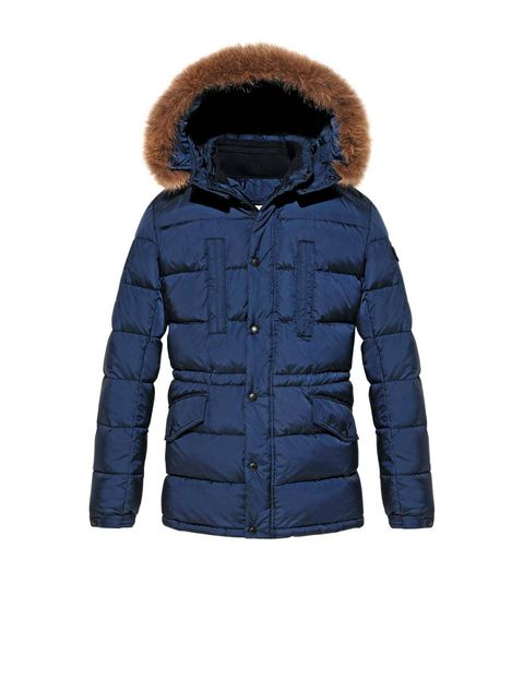 Blue, Brown, Jacket, Sleeve, Textile, Fur clothing, Hood, Natural material, Fashion, Black,