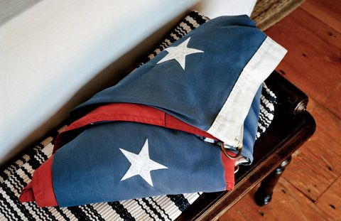 A folded flag in Robert Kennedy Jr.'s home in Hyannis Port, Massachusetts.