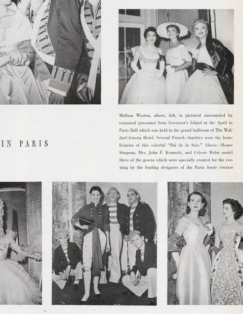 Before the pillbox became her signature headgear, Jackie was photographed at the Waldorf-Astoria's April in Paris Ball in 1954 wearing this scalloped number. Gloria Vanderbilt wore a tri-cornered one in homage to Revolutionary War hero John Paul Jones.