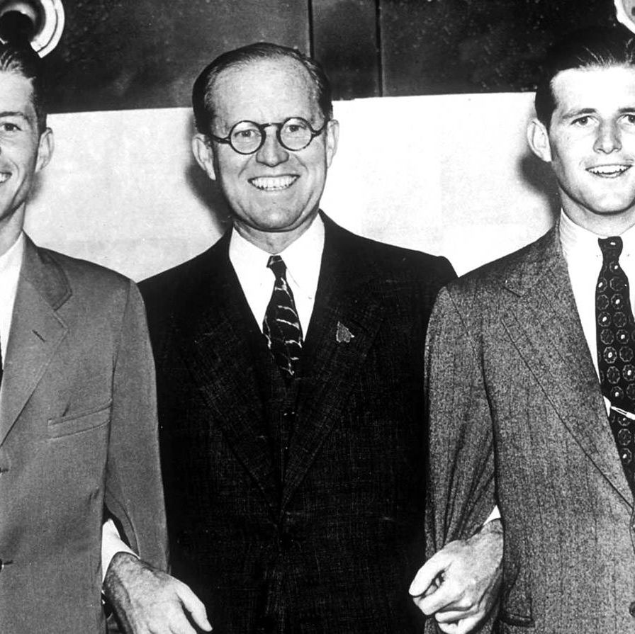 Joe, the first born of the nine Kennedy children (on his father's left, with his brother Jack), was planning to run for Congress in the 11th District after he returned from the war. But in August of 1944, he volunteered to pilot a plane into a complex of Nazi V-3 cannons just across the English Channel near Calais. The plan involved arming the explosives and parachuting out at the last minute, leaving the unpiloted plane and its payload aimed straight at their target. But the explosives detonated too soon, killing Kennedy and his co-pilot before they could jump to safety.His brother Jack later won the Congressional seat that Joe had hoped to campaign for.