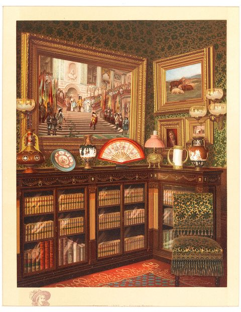 The library in the home of William H. Vanderbilt, printed in Mr. Vanderbilt's House and Collection, circa 1883.