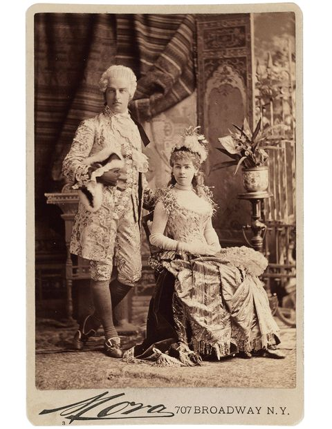 "Cornelius Vanderbilt II as Louis XVI, and Mrs. Vanderbilt (Alice Claypoole Gwynne), as ""Electric Light"" at the Vanderbilt Ball, 1883, photographed by José Maria Mora."