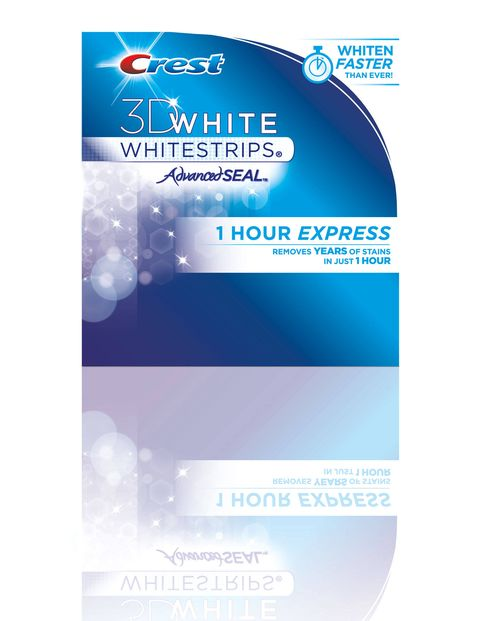While you're putting on your makeup or doing your hair, leave in Crest's new 3D White Whitestrips 1 Hour Express to brighten teeth.$54.99; 3Dwhite.com