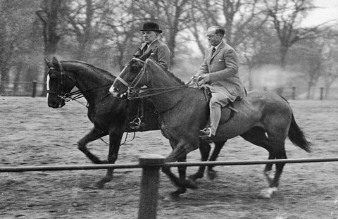 Ambassador Joseph Kennedy rides with American actor Lewis Stone in Rotten Row, Hyde Park, London, England, 1939.