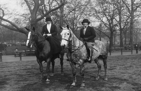 Mrs. Rose Kennedy with Mrs. Anorens along Rotten Row in Hyde Park, London, England, 1930s.