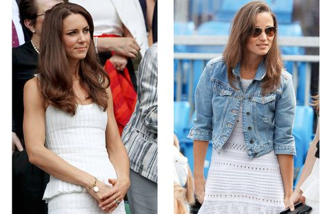 Both sisters attended the tournament in traditional all-white garb. Kate wears Alice Temperley, while Pippa opts for a crochet dress by British designer Tania Laurie.