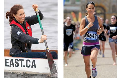 The Duchess gamely rows during the royal tour of Canada in a sporty jacket and life vest, while Pippa's triathlon gear includes a tank, shorts, and Bulgari sunglasses.