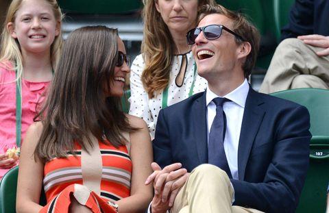 Watching tennis at Wimbledon on July 5, 2013.