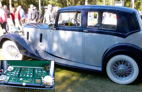 Tea time in the trunk! The original owners of this beauty lived in a medieval mansion adjoining Warwick Castle.