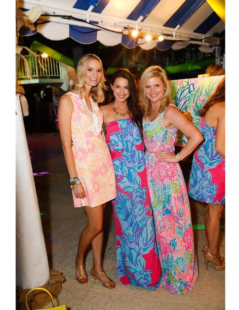 Kelli Jackson, Jennifer Saviano and Nicole Saviano donning Lilly Pulitzer from head to toe.