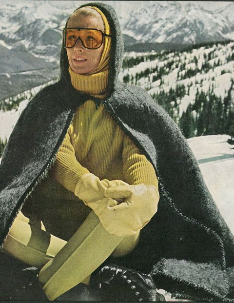 In our November 1965 issue, Ann Taylor (no, not the retail giant) shows us that fighting frigid temperatures doesn't have to mean bulking up without style. Decked out in vibrant monochromatic layers and a dramatic wool cape, Mrs. Taylor brings a cool minimalism to the Vail slopes.