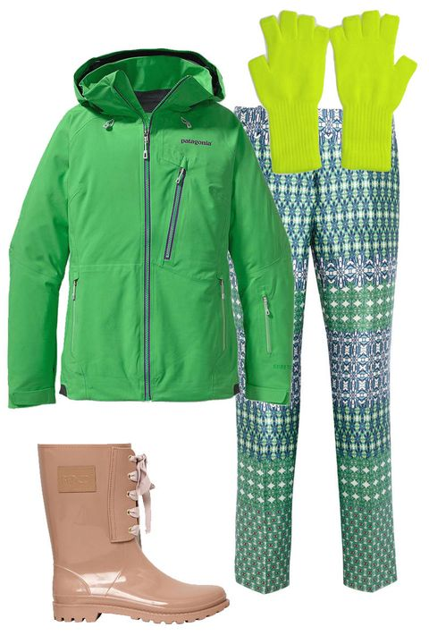 Patagonia Women's Untracked Jacket, $599; patagonia.comJ.Crew Café Printed Pants, $272.50; theoutnet.comForever 21 Classic Fingerless Gloves, $4.80; forever21.comRed Valentino 30 MM Rubber Bow Boots, $197; luisaviaroma.com