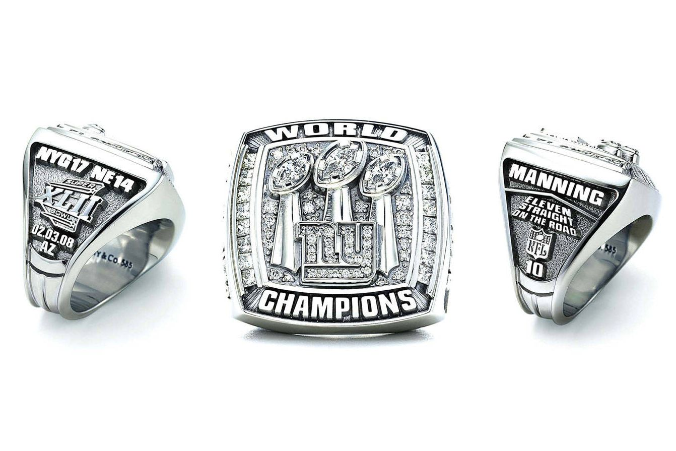 The New York Giants 2008 XLII Superbowl Championship ring made by Tiffany & Co. tiffany.com