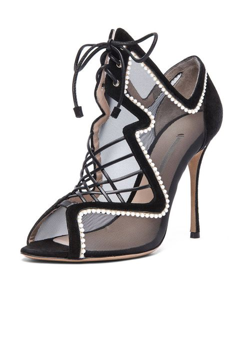 Nicholas Kirkwood Black suede lace up heel, $1,280; lyst.com