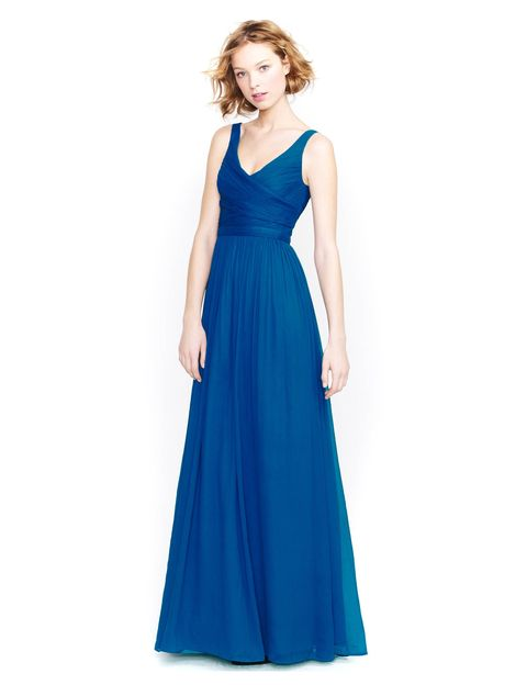 A modern goddess dress in a shocking sapphire blue that will turn heads while you walk down the aisle.jcrew.com