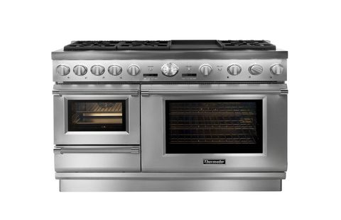 "The 48"" Thermador Pro Grand Steam Range offers the first high-performance professional range with both a built-in steam and convection oven. In August 2014, the Pro Grand Steam Range will add a new feature, the Professional Grill, to accompany the seven different cooking options, including: Thermador's patented Star Burners with the ExtraLow simmering feature as well as the 22,000 BTUs power burner, a titanium griddle, a large capacity convection, a warming drawer, and their exclusive steam and convection oven."
