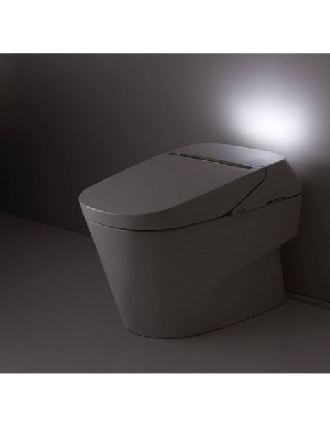 The NEOREST 750H is at the top of the TOTO line with their patented flushing and cleansing technologies. Using the incoming water supply, a pre-mist wets the surface preventing adherence 80% better than when dry, and combined with the use of electrolysed water, which has an acidic pH value, keeps the bowl fresher for longer periods of time. The NEOREST 750H is glazed with a tianium dioxide coating and zirconium that when combined with sunlight triggers a photocatalytic process in which organic substances are broken down. A UV light in the seat lid that is activated when the lid is closed accelerates this process. The NEOREST features ultra high-efficiency cyclone dual-flush technology that uses only one gallon of water per flush and is unaffected by a buiilding's water pressure. Measuring 17-inches from base (the ergonomically correct height), the NEOREST also includes an integrated personal cleansing system, auto open/close, and auto-flush features.