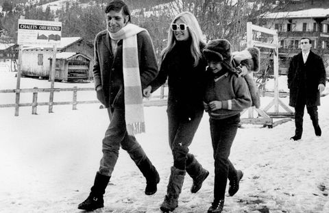 Brigitte Bardot in Gstaad with her husband Gunther Sachs and his son Rolf.