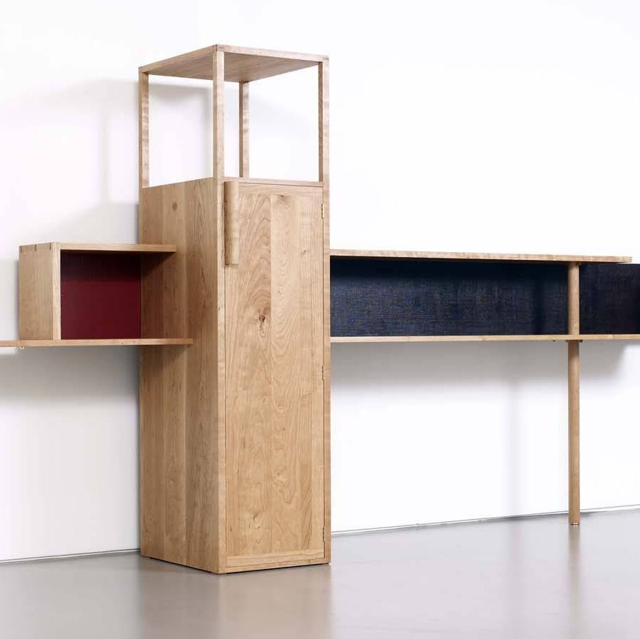 Bahk Jong Sun uses woods such as cherry, beech, and oak for his pieces. His limited edition desk and wall-mounted shelving have minimalist architectural forms that reveal traditional lacquer work and rich graining.