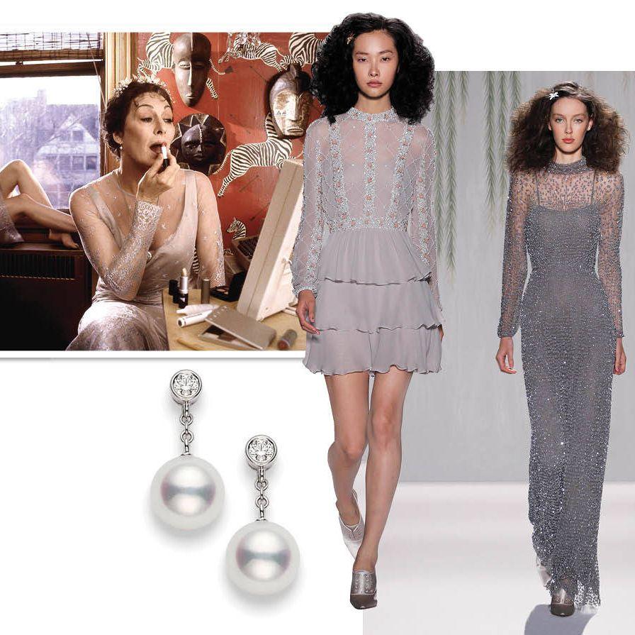 Jenny Packham Dresses&#x3B; $7,675 (short)&#x3B; $6,725 (long)&#x3B; www.jennypackham.comMikimoto Classic Akoya Pearl & Diamond drop earrings&#x3B; $1,750&#x3B; www.mikimotoamerica.com