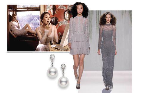 Jenny Packham Dresses; $7,675 (short); $6,725 (long); www.jennypackham.comMikimoto Classic Akoya Pearl & Diamond drop earrings; $1,750; www.mikimotoamerica.com