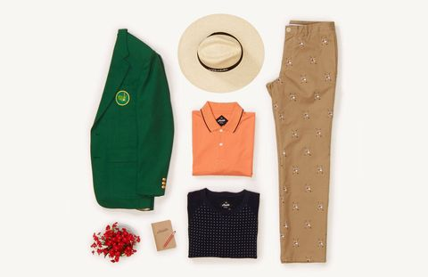 """This is a look that brings a little bit of fun and humor to a game that can be otherwise frustrating or serious at times, especially during the Masters. We liked the idea of pairing the saddle shoe and crossed clubs critter embroidery with our Spottington sweatshirt that is a classic necktie design. These re-interpreted classics together make for a great play on texture; it's a great example of pattern mixing in a new, fun way. Add the coveted green sport coat and you have great color combination making you look your best while you relish in your win.""Spottington Sweatshirt - $98The Berwick Polo - $78Tee Times - $128"