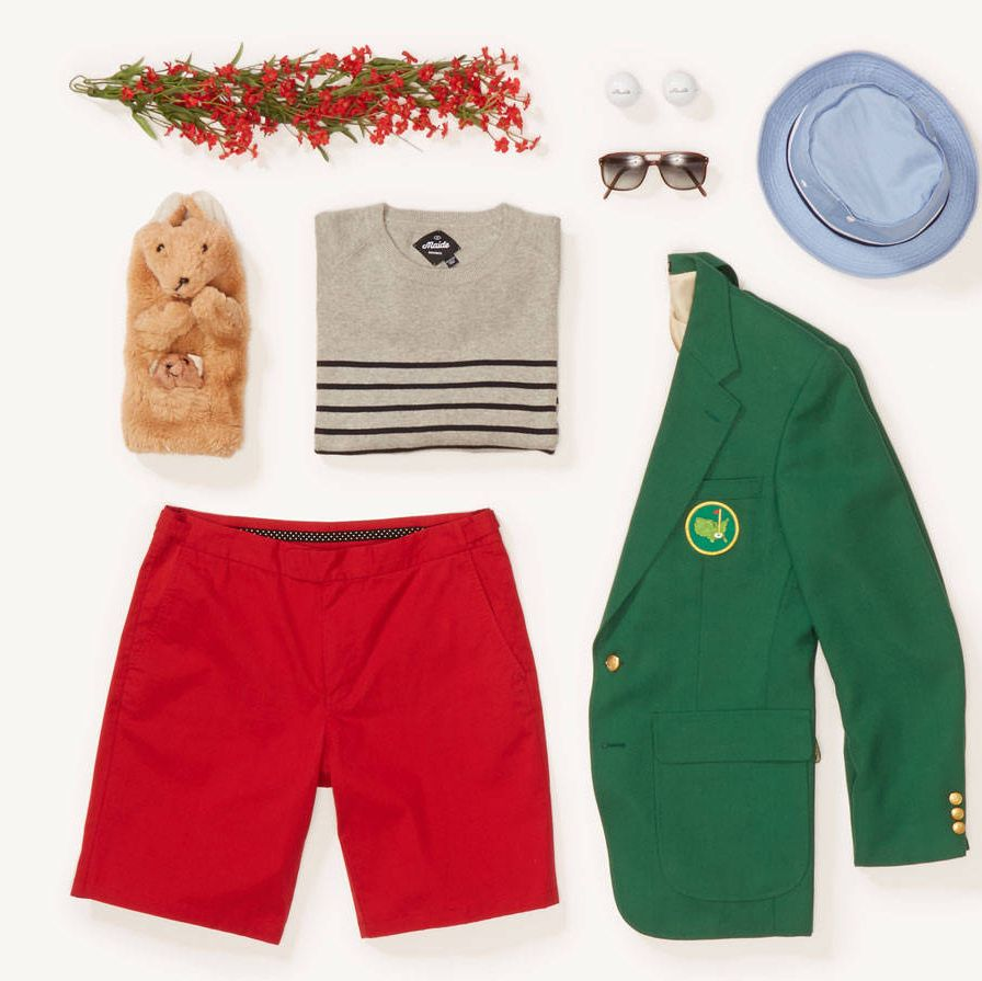 """This is more of a post-tournament look since shorts aren't allowed on the course in the tournament. The green jacket, sweater, and short together make for a cool take on primary colors. Think of this ensemble as classic Americana in a modern way. The Seagoer sweater is the golf version of a classic Breton stripe and the red Palmetto short adds a pop of color along with some sartorial details for when you're playing golf- the side tab closures, 10"" appropriate inseam length, and inset gel-waistband to keep your shirt tucked in all work together to keep you looking dapper and classic start to finish.""The Seagoer Sweater - $98The Palmetto Short - $98"