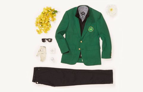 """This is an urban-minded New York City take on a Masters look. The black and white combination plays well off the boldness of the green jacket. It's a refreshing ensemble for a game inundated with so much branding and color all the time. What makes this look work is strategically mixing texture and fabric. The Highland Pant and The Berwick Polo are made of a 100% poly-cotton blend, Maide's Nor'easter windbreaker is a windproof-nylon, and the green jacket is cotton. And yes, the guy would not typically wear a windbreaker under the blazer, but let's say that it's raining in Augusta and he just won the Masters. No matter the weather, you have to find a way to make it all work so you can wear that green jacket.""The Nassau Polo - $88The Nor'Easter Windbreaker Jacket - $178The Highland Pant - $108"