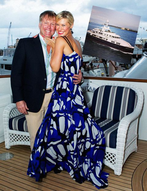 <p>Once a year, Palm Beach plays host to the International Boat Show, where hundreds of boats—from inflatables to superyachts—cruise in to boast their shiny woodwork and funny names. Burgess, one of the premier purveyors of the superyacht, had brought <em>Inevitable</em>, a 163-ft gentleman's yacht (read: <em>high seas bachelor pad</em>) and was offering it for a bargain at $12 million. Their sales strategy that weekend included playing host to a cocktail party for Escada, where society ladies kept busy perusing the turquoise caftans and Hawaiian print tunics from the house's spring collection. I kept busy with my glass of rosé on the upper deck, taking in the salty Floridian breeze.</p> <p><em>Left:</em> <strong></strong>Todd & Brandie Herbst <em>Inset: </em>Burgess' <em>Inevitable</em> superyacht</p>