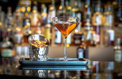"The Rye Bar at Capella Washington D.C. features a barrel-aged Manhattan created by Capella Georgetown's food and beverage manager Will Rentschler. It incorporates Dad's Hat Rye, an artisanal small-batch whiskey from Pennsylvania, Dolin sweet vermouth, and Byrrh Quinquina, a sweet French aperitif. Fifteen gallons of the boozy concoction is aged for six weeks in an empty Dad's Hat whiskey barrel, providing a smooth final product that the hotel describes as having a ""deep body and a hint of vanilla and oak as a result from the barrels themselves."" If you want to try making this cocktail or any of the following ones at home, consider using a 1-, 2-, 3-, or 5-liter barrel available for purchase from Tuthilltown Spirits. Recipe:2 Parts Dad's Hat Pennsylvania Rye1 Part Dolin Sweet Vermouth½ Part Byrrh QuinquinaAge in Charred White Oak barrels for 5-6 weeks. Once aged, pour 4oz. into glass with ice and stir until well chilled. Strain into chilled martini glass and add 3 drops of house-made orange bitters. Garnish with slice of orange peel."