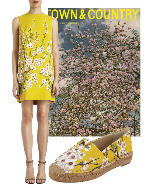 "<p>Dolce & Gabbana cherry blossom-print shift dress, <em><a href=""http://barneys.com"">barneys.com</a></em><em></em></p> <p><em></em>Dolce & Gabbana cherry blossom espadrilles, <em><a href=""http://barneys.com"">barneys.com</a></em></p>"