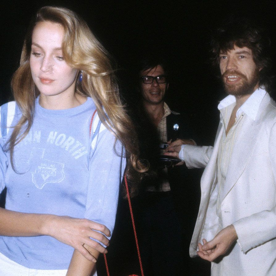 <p>Model Jerry Hall with Mick Jagger in Paris, 1979.</p>