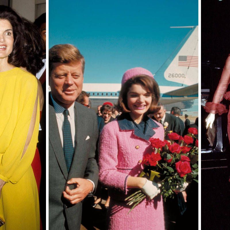 Jackie's probably best remembered wearing that pink pillbox hat and suit, but it wasn't the only time she stepped out in an attention-grabbing hue. She loved all shades of the rainbow and sported them proudly—but when wearing a head-turning shade, she kept her accessories and makeup simple to balance it out.