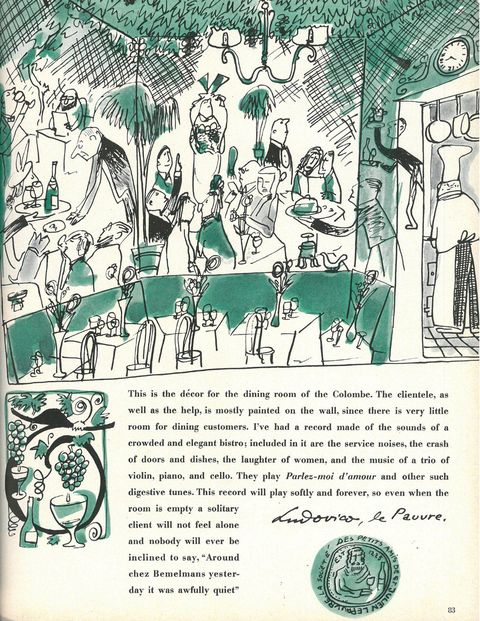 <p>A drawing and description of the scene at the Colombe, a small Parisian bistro he bought in 1953.</p>