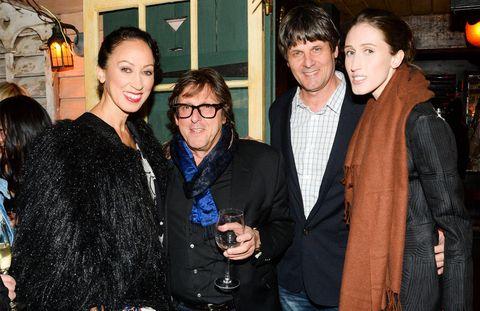 Coat, Outerwear, Jacket, Wine glass, Friendship, Black hair, Drink, Jewellery, Leather jacket, Stemware,