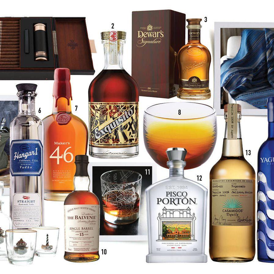 1. Comador cigar humidor ($849), comadorcigar.com 2. Facundo sipping rum ($100), astorwines.com 3. Dewar's blended Scotch whisky ($200), crownwineandspirits.com4. Aztec throw ($85), essentialman.com5. W&P Cocktail Kit ($279), masonshaker.com6. Hangar One vodka ($30), bevmo.com7. Marker's 46 bourbon ($32), klwines.com8. Glassybaby glass ($55), glassybaby.com9. Richard E. Bishop lighthouse decanter set ($70), tnuck.com10. The Balvenie single malt Scotch whisky ($100), suburbanwines.com 11. The Uncommon Green street maps glass ($12.50), theuncommongreen.com12. Pisco Porton pisco ($40), drinkupny.com 13. Casamigos tequila ($45), bevmo.com 14. Yaguara cachaça ($45), gramercywine.com15. Aviation American gin ($25), bevmo.com