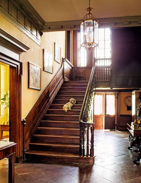 The entrance hall, with its dramatic staircase, enjoyed by Scout.