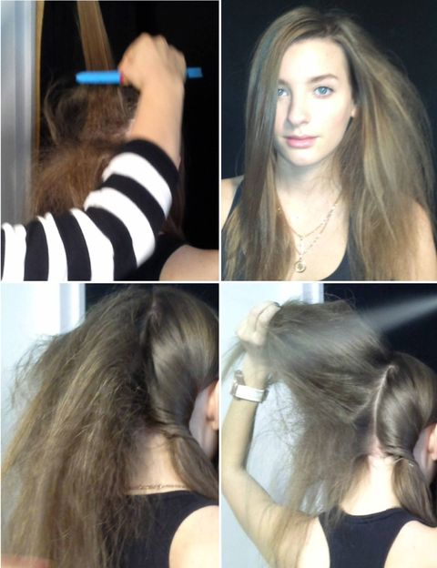 Use the teasing brush to tease the hair in sections, using hair spray on each section.