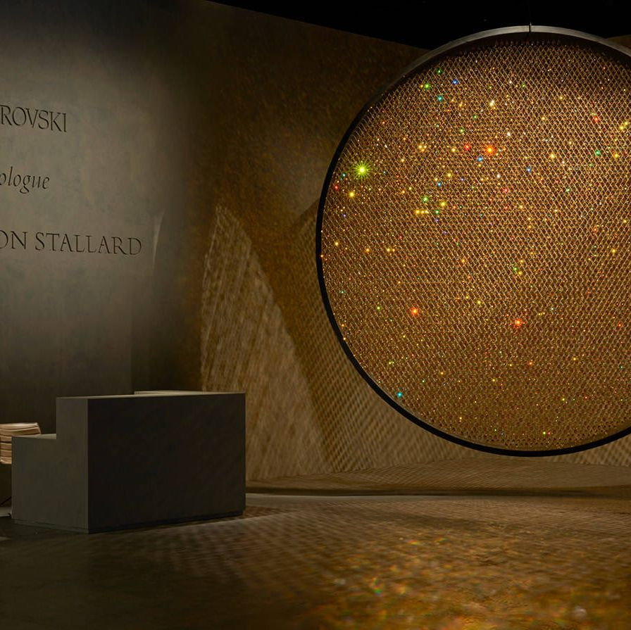 """Prologue,"" by Fredrikson Stallard in collaboration with Swarovski, features 8000 golden Swarovski crystals."