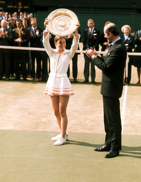 Chris Evert wins Wimbledon in 1974.