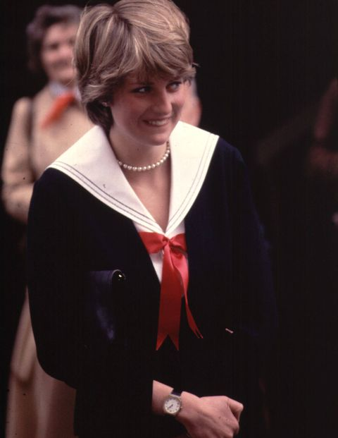 Shortly after her engagement was announced, Diana turned up at an event in Cheltenham, England, in a naval-inspired suit. via goodhousekeeping.com