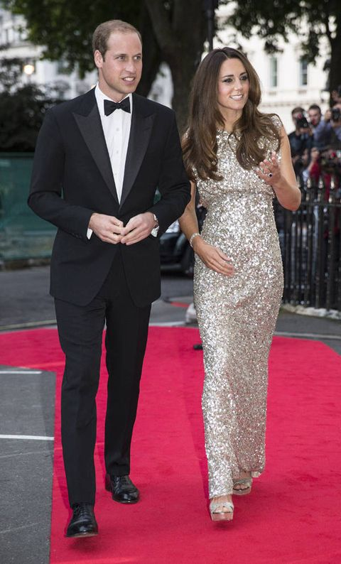 <p>Kate Middleton ventured out in a floor-length sequin Jenny Packham gown for her first event since George's birth.</p>